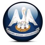 Trace con Dot Pattern en el botón de la bandera del estado de los E.E.U.U. Luisiana Imagen de archivo libre de regalías