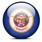 Trace con Dot Pattern en el botón de la bandera del estado de los E.E.U.U. Minnesota Fotografía de archivo