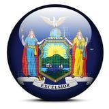 Trace con Dot Pattern en el botón de la bandera del Estado de Nueva York de los E.E.U.U. Fotografía de archivo libre de regalías