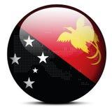 Trace con Dot Pattern en el botón de la bandera del estado independiente Papua N Fotos de archivo libres de regalías