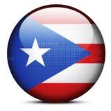 Trace con Dot Pattern en el botón de la bandera del estado libremente asociado o Foto de archivo