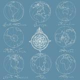 Trace des continents d'atlas Image libre de droits
