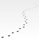 Trace of dog leading far away. Royalty Free Stock Photography