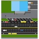 Trace el camino, carretera, calle, con la tienda Con diversos coches Imágenes de archivo libres de regalías