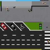 Trace el camino, carretera, calle, con la tienda Con una variedad de coches en el estacionamiento La intersección y el estacionam Fotografía de archivo