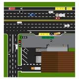Trace el camino, carretera, calle, con la tienda encrucijada Parada de omnibus Con diversos coches Fotos de archivo libres de regalías