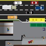 Trace el camino, carretera, calle, con la tienda Travesía subterráneo encrucijada Parada de omnibus Con diversos coches Vista sup Fotos de archivo libres de regalías