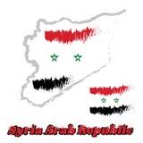 Trace el esquema y cepille el color del estilo de la bandera de Siria, tricolor horizontal de rojo, de blanco, y negro con la est Imágenes de archivo libres de regalías