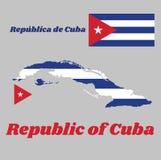 Trace el esquema y la bandera de Cuba, cinco rayas horizontales de azul y de blanco con el triángulo equilateral rojo que lleva l Foto de archivo