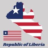 Trace el esquema y la bandera de Liberia, once rayas horizontales que alternan rojo y blanco; en el cantón, una estrella blanca e libre illustration