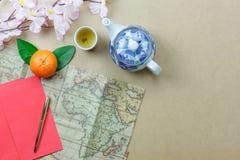 Trace fondo del Año Nuevo chino para viajar y de los accesorios y del concepto del festival lunar Imagenes de archivo