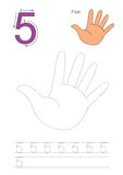 Trace game for figure Five Royalty Free Stock Image