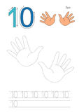 Trace game for figure Ten. Vector exercise illustrated alphabet. Learn handwriting. Page to be traced. Complete english alphabet. Tracing worksheet for figure Royalty Free Stock Photo