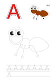 Trace game for letter A, ant Royalty Free Stock Photo