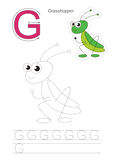 Trace game for letter G. Grasshopper. Vector exercise illustrated alphabet. Learn handwriting. Gaming and education. Page to be traced. Kid game. Complete Royalty Free Stock Image