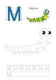 Trace game for letter M. The millipede. Royalty Free Stock Photography
