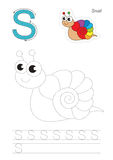 Trace game for letter S. Snail. Stock Images