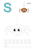 Trace game for letter S. The spider. Vector exercise illustrated alphabet. Learn handwriting. Gaming and education. Page to be traced. Kid game. Complete Stock Image