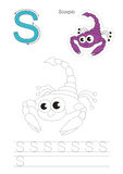 Trace game for letter S. Vector illustrated worksheet. Learn handwriting. Gaming and education. Page to be traced. Easy educational kid game. Simple level Stock Photos