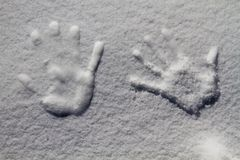 Trace of the hand on the snow, Kashmir, Jammu And Kashmir, India Stock Photo