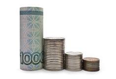 Trace la caída de la rublo de billetes de banco y de monedas Imagen de archivo libre de regalías