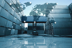 Trace la conexión global de la sociedad de la logística del cargo f del envase Imagen de archivo