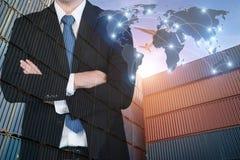 Trace la conexión global de la sociedad de la logística del cargo f del envase Imagenes de archivo