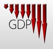 Trace la ilustración del descenso del GDP, concepto macroeconómico del indicador Foto de archivo libre de regalías