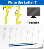 Trace the letter T. Illustration stock illustration