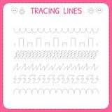 Trace line worksheet for kids. Trace the pattern. Working pages for children. Preschool or kindergarten worksheet. Basic writing stock illustration