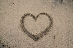 Trace love in desert beach. Texture background place text photo royalty free stock photos
