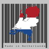 Trace o esboço e a bandeira de Países Baixos no código de barras preto com fundo cinzento, texto: Feito em Países Baixos ilustração do vetor