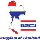 Trace o esboço e a bandeira de tailandês na cor do vermelho azul e do branco de Tailândia Fotografia de Stock