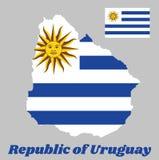Trace o esboço e a bandeira de Uruguai, listras horizontais da substituição branca com luz - azul e o Sun de maio ilustração royalty free