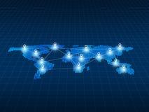 Trace o plano do pino do conceito do negócio global e da conexão de rede, Imagem de Stock