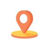Trace o ponto 3d, ícone isométrico do pino no mapa da navegação para posicionar o curso e o transporte Fotografia de Stock Royalty Free