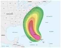 Trace para um aviso do furacão nas Caraíbas e nos EUA orientais ilustração stock