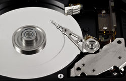Trace of reading information. Close-up of the opened Hard Disk Drive.  Trace information from reading Stock Photo