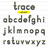 Trace rounded alphabet lowercase letters. Royalty Free Stock Photos