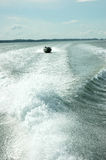 Trace speedboat at sea. The trace speedboat at sea Stock Photos