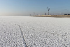 Trace on a surface of the river covered with snow Royalty Free Stock Images