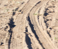 Trace of the tire tread Stock Photography