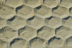 Trace of tyre in the sand Stock Photography