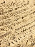 The trace of a tyre in the sand. Diagonal. Royalty Free Stock Image