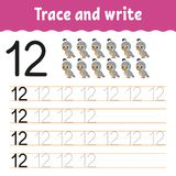 Trace and write. Handwriting practice. Learning numbers for kids. Education developing worksheet. Activity page. Game for toddlers. And preschoolers. Isolated vector illustration
