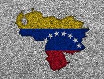 Trace y bandera de Venezuela en las semillas de amapola Foto de archivo libre de regalías