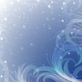 Tracery снега на голубой предпосылке с блеском Стоковые Фото