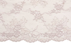 Tracery beige de lacet de satin Photos stock