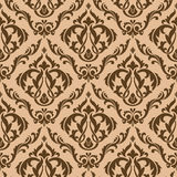 Tracery brown seamless pattern Stock Images