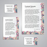 Tracery Card Business design set - natural mood Royalty Free Stock Image